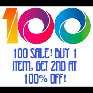 100 Sale! Buy one item, get 2nd at 100% off! 🎉💯
